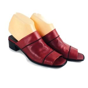 Bally Red Leather Heel Slip On Sandals Size 8 1/2
